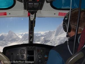 Rückflug mit dem Hubschrauber