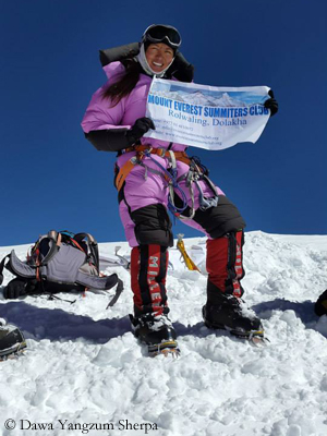 Dawa Yangzum auf dem Gipfel des K 2