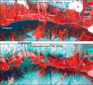 Vor und nach dem Erdrutsch in Langtang (© NASA)