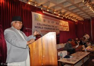 Tourismusminister Kripasur Sherpa bei seiner Rede am Sonntag