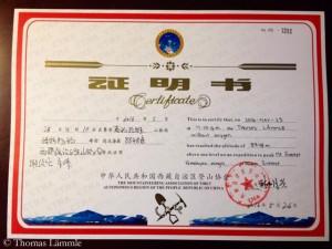 Zertifikat des tibetischen Bergsteiger-Verbands