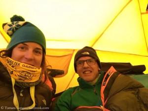 Tamara (l.) und Simone im Manaslu-Basislager