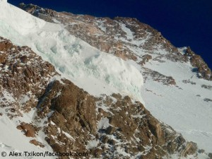 Blick aus Lager 3 auf den Gipfel