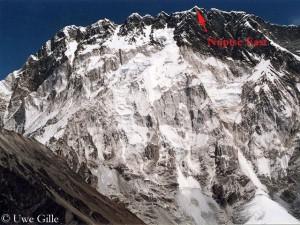 Die Nuptse-Gipfel von Süden aus