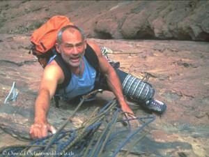 Beim Klettern in Jordanien