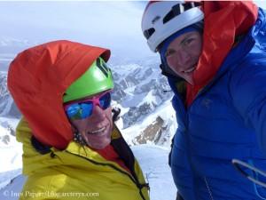 Ines Papert und Luka Lindic auf dem Gipfel des Kyzyl Asker