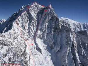 Route der Österreicher in der Südwand des Nilgiri South