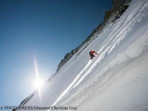Dani Arnold am 22. April in der Matterhorn Nordwand