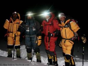 Aufbruch zum Gipfelversuch: Ali, Alex, Tamara und Simone (v.l.)