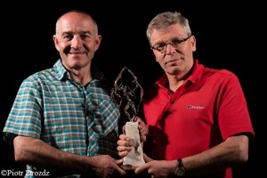 Piolet d'Or winners Mick Fowler (r.) and Paul Ramsden
