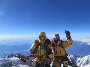 Muhammad Ali (l.) and Simone Moro on top of Nanga Parbat