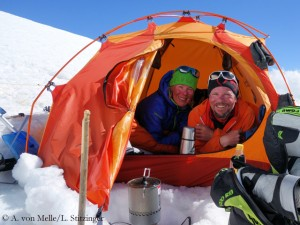 Alix and Luis in high camp on Makalu