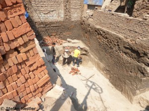 Construction work in the tourist district of Thamel