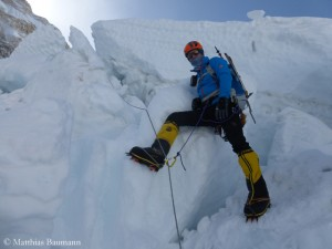Matthias Baumann in the Khumbu Icefall