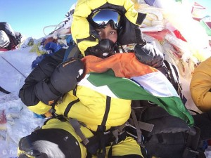 Chhanda on top of Everest in 2013