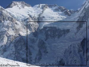 Diamir face, Messner route on the right side