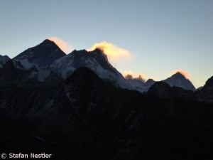 Mount Everest, Lhotse, Makalu (from l. to r.)
