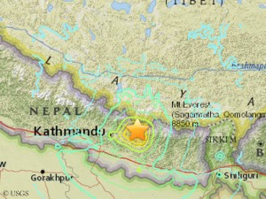Epicenter of the new quake (© USGS)