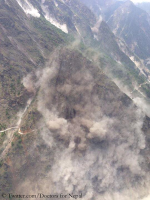 Landslides near Namche