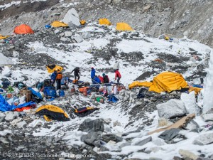 Base Camp after the avalanche from Pumori