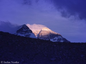 North side of Everest in the last daylight