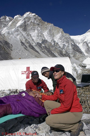 Luanne working at Base Camp