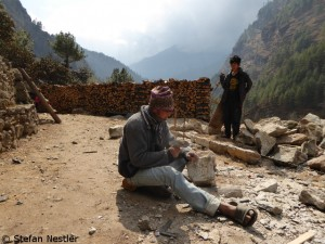 Construction work in the Khumbu area