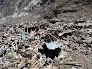 Piles of rubble where Langtang Village was previously