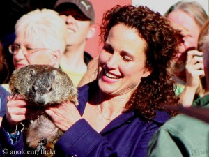 Andie MacDowell with a real groundhog