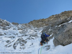 Mick Fowler climbing the North Buttress of Sersank