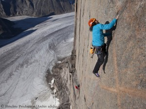Alexander climbing Mount Asgard on Baffin Island