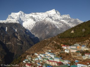 Namche Bazaar, in the background Kongde Ri