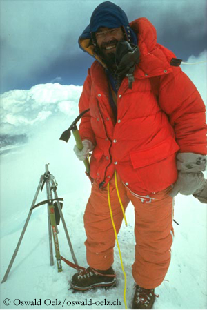 Oelz on the summit of Mount Everest