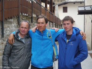 Lindic (r.), Cesen and Prezelj (l.) in Courmayeur in 2015