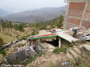 Earthquake damage in Sangachok