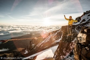 Siegrist on the highline on Kilimanjaro