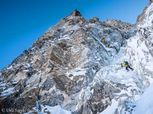 Ueli Steck and David Goettler in Shishapangma South Face