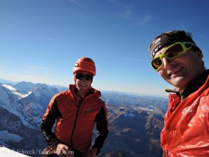 Kilian Jornet (l.) and Ueli Steck (r.) on the Eiger