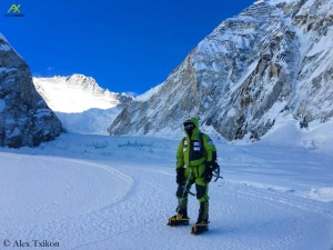 Alex Txikon at the entrance of Western Qwm
