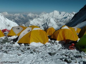 Tent village on Everest South Col