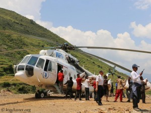 Earthquake relief by helicopter