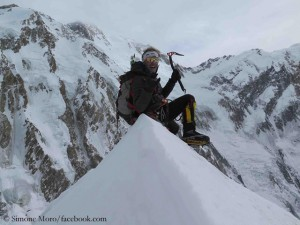 Simone Moro on top of Ganalo Peak