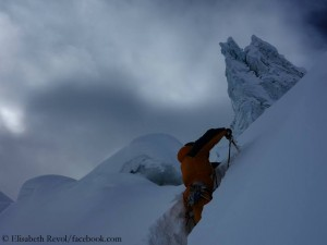 Deep snow on Manaslu