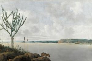 """Frans Post - """"Visão do Rio São Francisco com o Fort Maurits e uma capivara"""" (1639)"""