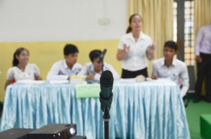 Students discuss gender issues during a mock debate held to encourage critical thinking issues among Cambodian youth
