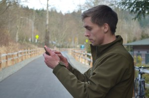 Ben's pictured here taking a GPS point with his smart phone (Photo: E. O'Neill)