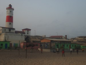 The colorful shelter and the James Town lighthouse