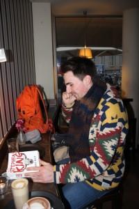 Kevin Hofmann in a cafe