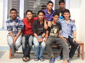 Santosh (left), Krish (second left), Bikash (centre), Anish (right under) with their friends at the Karnali Home