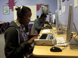 15-year-old Janelle Thomas is working on her own track in Xavier's class